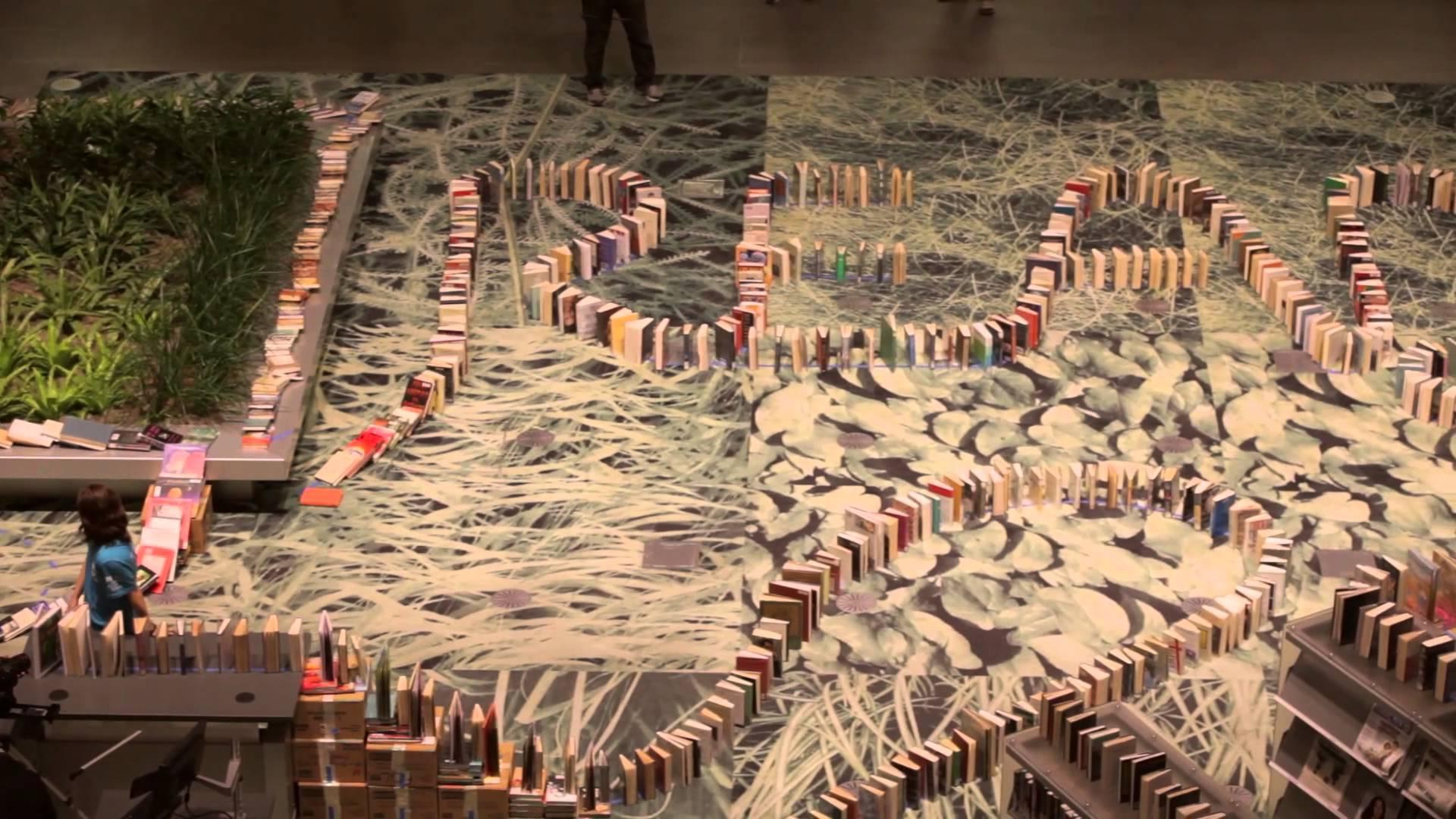 Weltrekord-Dominokette – aus Büchern