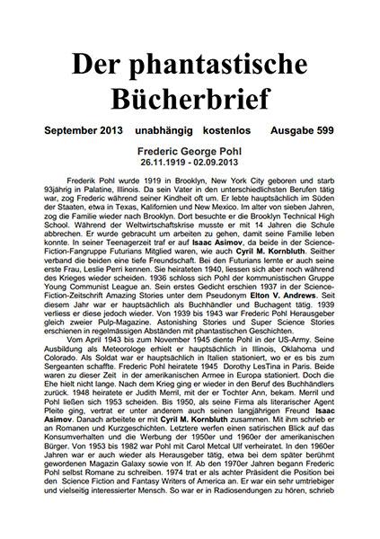 DER PHANTASTISCHE BÜCHERBRIEF 599