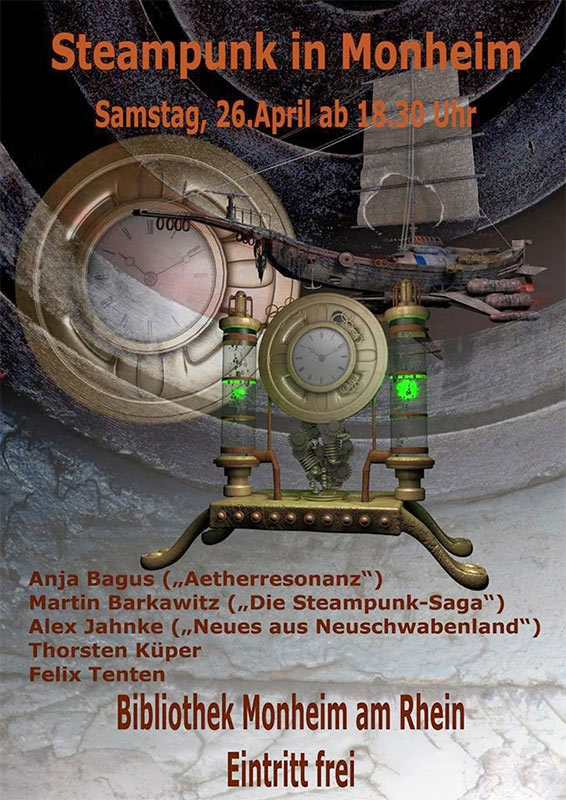 Steampunk-Lesung am 26. April 2014 in Monheim