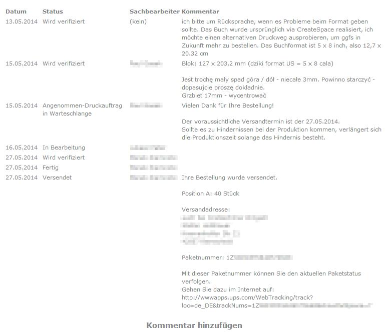 Statusmeldungen im Kundenkonto - kommen auch per Email