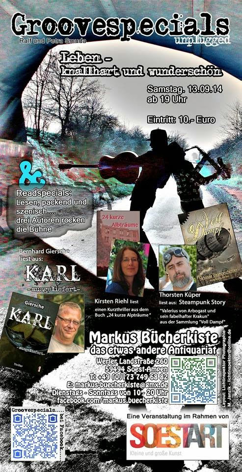 Am 13. September 2014: Lesung in Soest – mit Steampunk und Musik