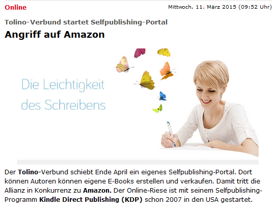 Tolino-Allianz schiebt ein Selfpublishing-Portal