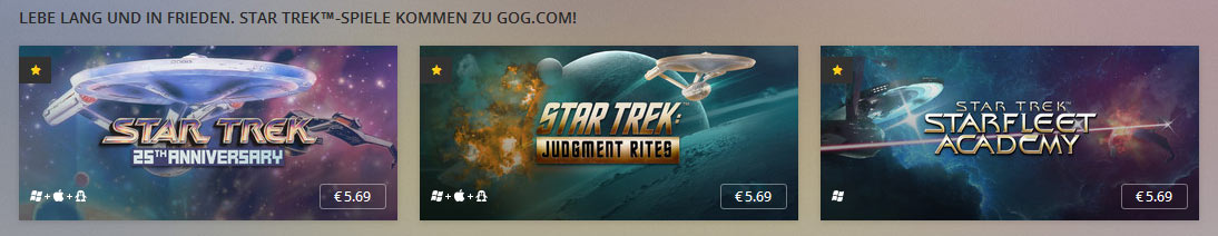 STAR TREK-Spieleklassiker bei Good Old Games
