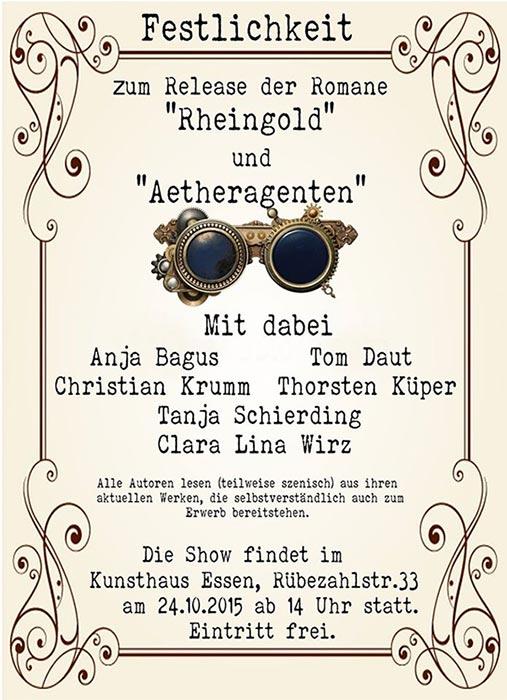 Festlichkeit zum Release der Romane RHEINGOLD und AETHERAGENTEN