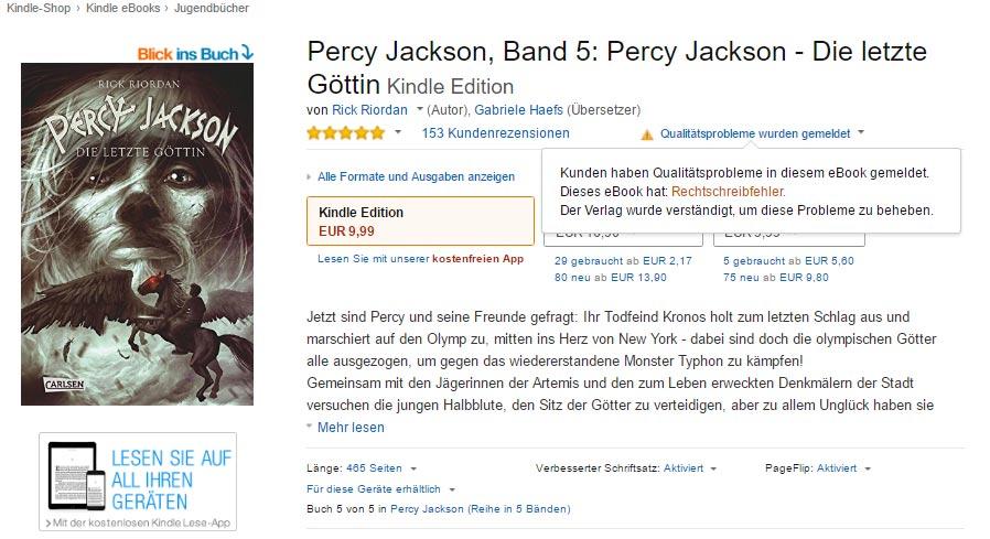 Amazon meldet jetzt auch in Deutschland eBooks mit Qualitätsproblemen