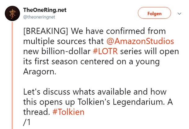 Amazons HERR DER RINGE-Serie könnte sich um den jungen Aragorn drehen