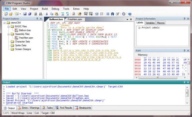 Entwicklungsumgebung für C64: CBM .prg Studio
