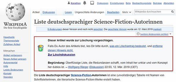 Die alten, weißen Männer bei der deutschen Wikipedia möchten keine Liste von SF-Autorinnen