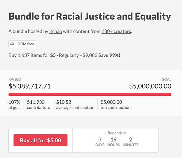 »Bundle For Racial Justice And Equality«: 1500 Spiele für fünf Dollar (oder mehr)